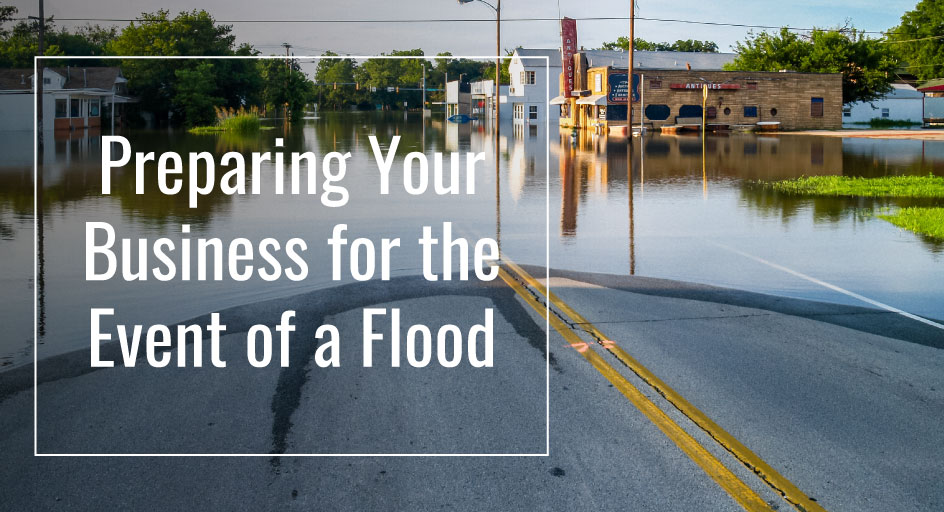 blog image of a city street flooded under water; blog title: Preparing your business for the event of a flood